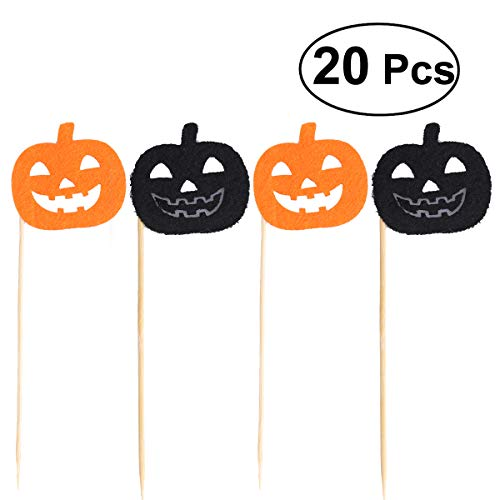 TINKSKY 20pcs Halloween Cupcake Toppers Pumpkin Cake Picks for Halloween Party Decoration (Black and Orange Color Randomed)
