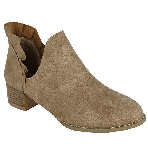 (FISACE Womens Ruffle Cut Out Ankle Booties Slip On Chunky Low Heel Cowgirl Boots Camel )