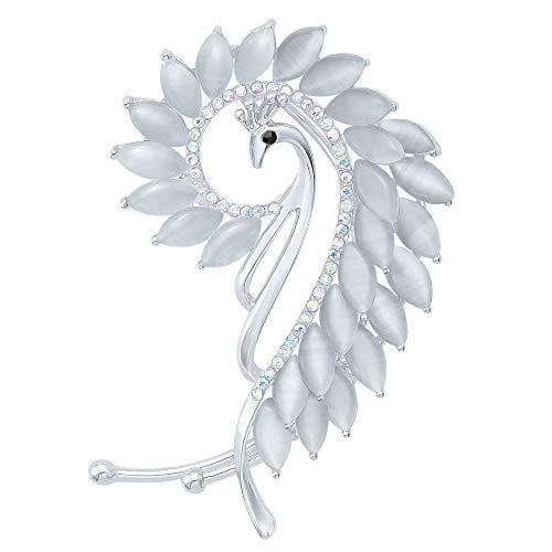 Elegant Women Silver-Tone Crystal Peacock Left Side Ear Wrap Cuff Earrings Non Pierced Ears Grey