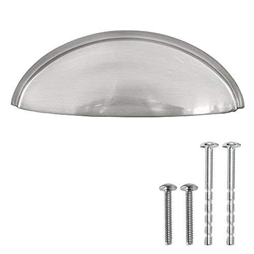 Satin Nickel Kitchen Cabinet Pulls - 3 Inch Bin Cup Drawer Handles - 10 Pack of Kitchen Cabinet Hardware - New Design ...