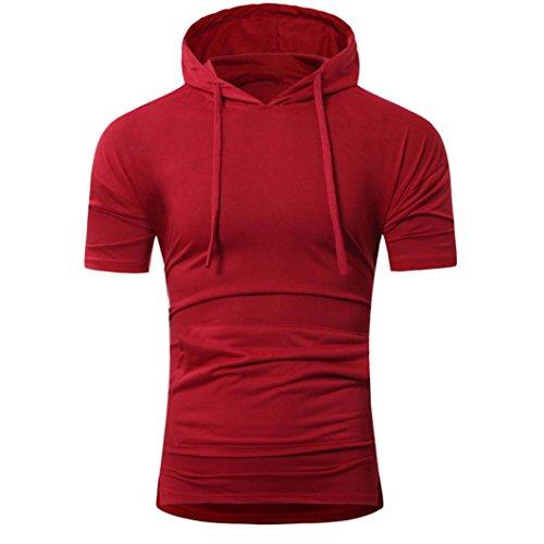 Bluestercool Été Fashion Pull à Capuche T-Shirt à Manches Courtes Pour Hommes Rouge
