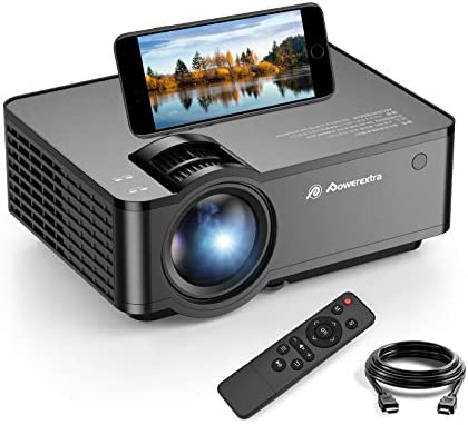Powerextra Mini Projector, 2021 WiFi Movie Projector with Synchronize Smartphone Screen, Supported Full 1080P and 160″ Screen, 5000 Lux Portable Projector Compatible with Android/iOS/HDMI/USB/SD/VGA