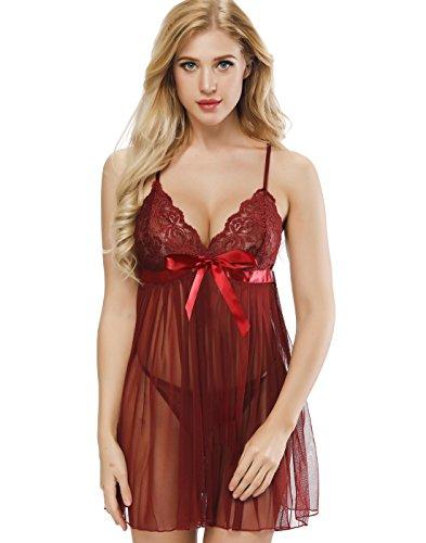 Grebrafan Women's Babydoll Sexy Lingerie Lace Sleepwear V-String Miniskirt (US(6-8) M, Darkred) (Fancy Baby Panties)