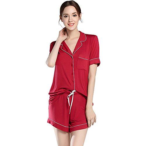 Women's Pajamas Sleepwear Short Button-Down Pj Set AMP005 Red L