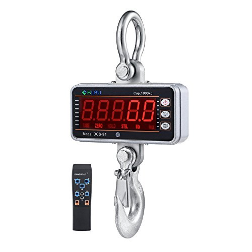 Digital Crane Scale,Klau 1000 kg 2000 lb Industrial Heavy Duty Hanging Scale LED Display with Remote Silver for Home Farm Factory by Klau