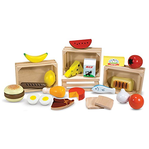 416nyKxSJAL - Melissa & Doug Food Groups - 21 Hand-Painted Wooden Pieces and 4 Crates