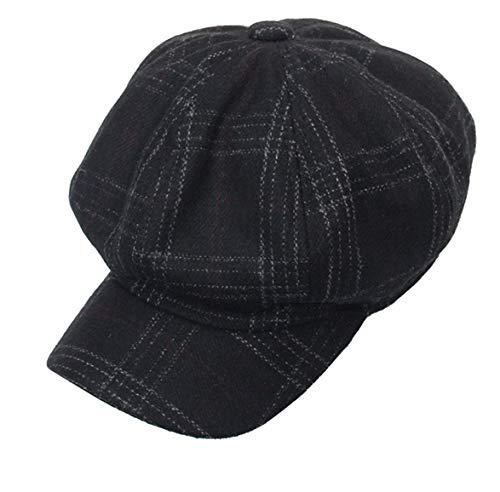 Cabbie-Newsboy Hat Tweed Plaid - Classic-Cabbie Paperboy Painter Newsboy Cap (Black)