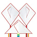 Mint's Colorful Life Design Your Own Kites Kits for Kids Kite Game Party Favor Pack, DIY Blank White Kite Set to Decorate,Painting and Coloring Their Own Creation (2 Diamond&1 Delta)