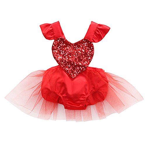 Newborn Baby Girls Valentine Romper Tutu Dress Fly Sleeve Heart Sequins Bodysuit Jumpsuit Summer Outfit 0-3Y (0-6M, Red) -
