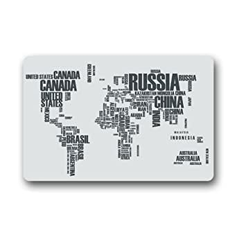 "Evergreen Fashion Custom Fashion Art Print World Map by Country nombre letras se puede lavar a máquina Felpudo personalizado casa Felpudo puerta Pad alfombra 23.6""(L) X 15,7(W)"