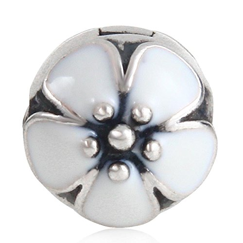 Darling Beads - Darling Daisies Clip Charm - 925 Sterling Silver Clip Beads - Fit DIY Bracelets