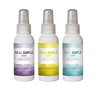 Real Simple Clean Travel Size Wrinkle Release, Static Cling Remover, Pillow & Fabric Freshener, Out the Door No-Iron Quick Fix, USDA Certified Bio-based & Biodegradable (3 oz, Variety Pack)