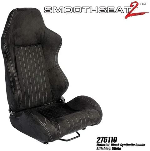 Pair Performance World 276110 SmoothSeat2 Racing Black Synthetic Suede w//white stitching Seats