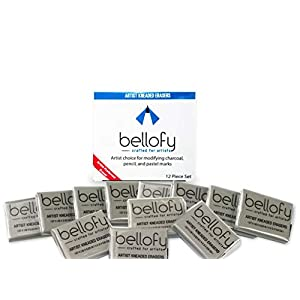 Bellofy 12 Kneaded Erasers for Drawing, Charcoal, Pastels – Art Gum, Moldable Putty Rubber, No Smudge Eraser, Perfect Choice for Artists Rubber Erasers, Art and Sketching Supplies