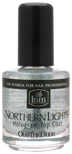 INM Northern Lights Silver Hologram Top Coat, Fast Drying, 1/2 Ounce (1-Unit) (Best Glitter Top Coat)
