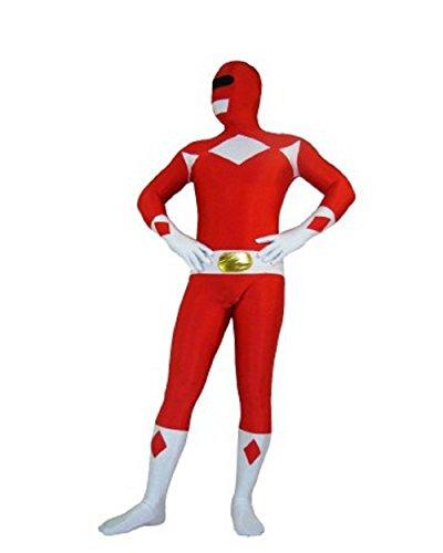 Riekinc Halloween Power Rangers Cosplay Red Zentai Suit Kids Costume