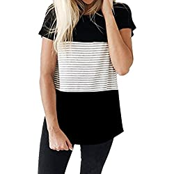 FEITONG Women Short Sleeve Round Neck Triple Color Block Stripe T-Shirt Casual Blouse (Small, Black 2)