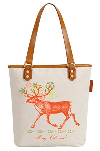 So'each Women's Christmas Sika Deer Canvas Tote Pearly Top Handle Shoulder Bag