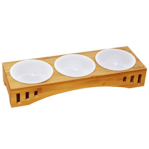 Petilleur Basic Cat Bowls with Wooden Stand Pet Dining Table Cat Feeder with Raised Bamboo Stand for Cats and Puppy (Treble Bowls)
