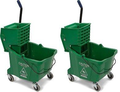 Carlisle 3690409 Commercial Mop Bucket With Side Press Wringer, 35 Quart Capacity, Green (2-(35 Quart Capacity))