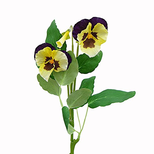 JAROWN 5 pcs Artificial Pansy Orchid Silk Flowers Arrangement for Home Office Wedding Decoration (Mix)