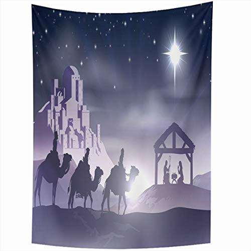 (Ahawoso Tapestry Wall Hanging 60x80 Bethlehem Blue Christmas Christian Nativity Scene Baby Virgin Jesus Holidays Native Manger Wisemen Home Decor Tapestries Decorative Bedroom Living Room Dorm)