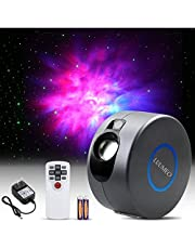 LUUMEO® Night Light Galaxy Star Projector 7 in 1 Remote Control LED Nebula Cloud Living Bedroom Decorations Home Theater Lightning Mood Ambient Lamps Baby Kids Game Décor Gift White/Grey (Grey)