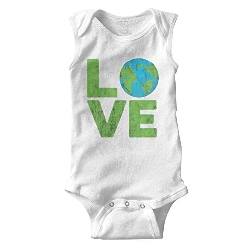 - Happy Earth Day Love Baby Onesie White Bodysuit Sleeveless Organic Cotton Soft