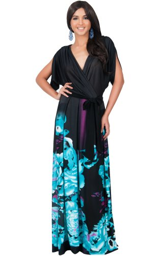 KOH KOH Plus Size Womens Long V-Neck Short Sleeve Floral Print Gown Elegant Maxi Dress, Color Turquoise, Size Extra Large / XL / 14-16