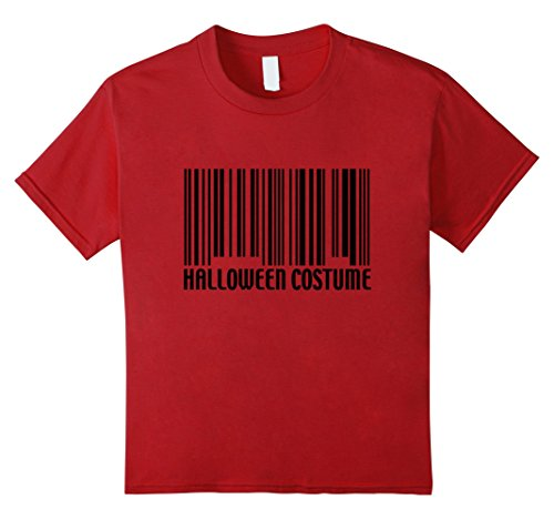 Kids Funny Generic Halloween Costume Barcode T-Shirt 4 Cranberry