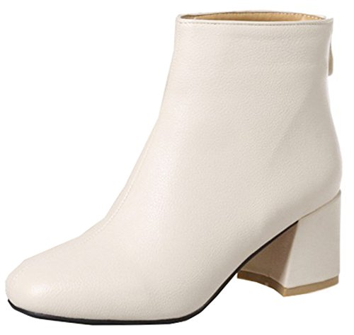 Zipper High Easemax Toe Ankle Black Square Mid Women's Boots Beige Trendy Heeled Block pxgvp8FSq