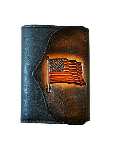 - Hilltop Leather Company Mens Handcrafted Leather Trifold Wallet American Flag USA