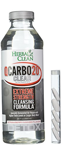 Herbal Clean Qcarbo Liquid Detox Supplement, Strawberry/Mango, 20 Ounce by Herbal Clean