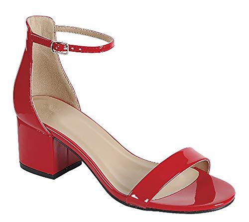 MVE Shoes Womens Stylish ComfortableOpen Toe Single Strap Low Heel Sandal, Red Pat 7