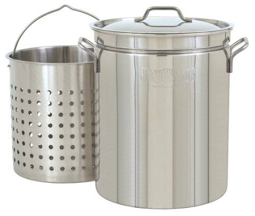 Bayou Classic 1160 62-Quart All Purpose Stainless Steel Stockpot with Steam and Boil Basket -