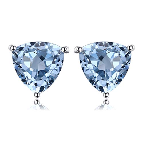 JewelryPalace Birthstone Gemstones 2ct Natural Blue Topaz Stud Earrings For Women 925 Sterling Silver Stud Earrings For Girls Triangle Cut