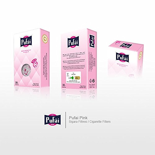 Cigarette filters. 90 piece ( 3 pink box 30 filters) disposable regular size [8 mm] cigarette filters holder. New 8 hole strong filtration system by Pufai
