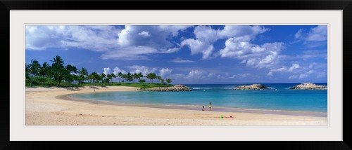 GreatBIGCanvas ''Beach at Ko Olina Resort Oahu Hawaii'' Photographic Print with Black Frame, 48'' x 16'' by greatBIGcanvas