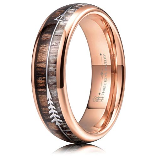 THREE KEYS JEWELRY 6mm Rose Gold Tungsten Wedding Ring with Real Antler Zebra Wood Two Arrows Inlay Dome Hunting Ring Wedding Band Engagement Ring Size 13.5