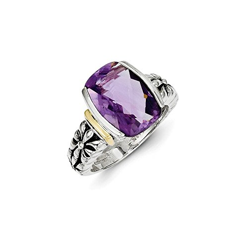 Sterling Silver Polished Open back Antique finish Checkerboard-cut With 14k Amethyst Ring - Size 8