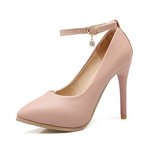 VogueZone009 Women's Blend Materials Pointed Closed Toe Spikes-Stilettos Solid Pumps-Shoes Pink Yj5gAVRBH