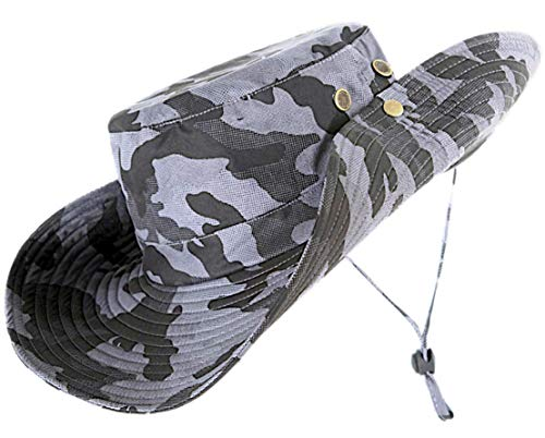 kolumb Unisex Military Boonie Hat- Premium Soft Cotton & Polyester Fabric, Sturdy Stitching Wide Brimmed Mens & Womens Boonie Hat- Top Camo Bucket Hat in Attractive Colors for Sports Fishing Beach … - Bucket Brim Large