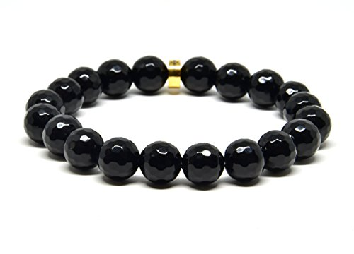 Genuine Faceted Black Onyx Stretch Bracelet