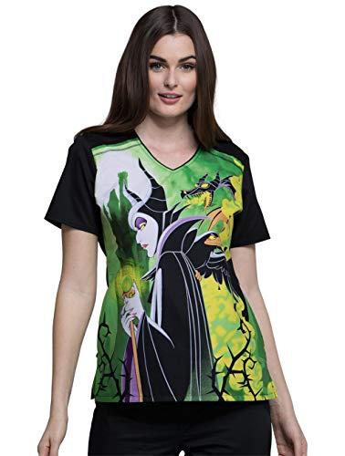 Disney TF694 Women's V-Neck Top (Scrub Shirt Ariel)