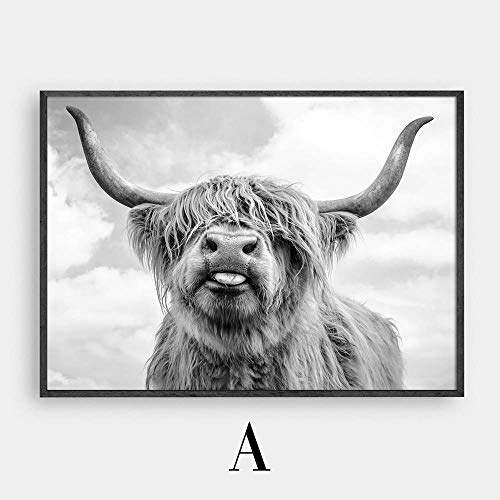 Karen Max Wall Art Freedom Highland Cow Print and Poster, Cattle Canvas Art Paintings for Living Room Decor, Yak Wall Decoration 80x120cm No Frame