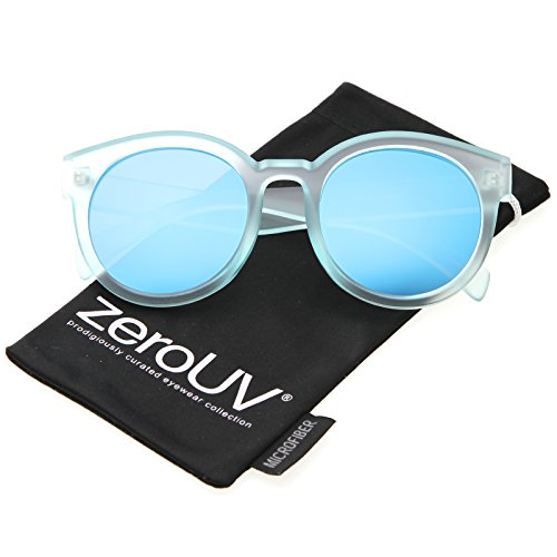 880e7051a1 Amazon.com  zeroUV - Women s Translucent Frost Horn Rimmed Mirrored Flat  Lens Round Sunglasses 54mm (Blue Blue Mirror)  Clothing