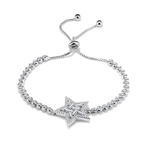 PAURO Women's Jewelry Platinum Plated Cubic Zirconia Inlaid Pull Chain Five-pointed Star Bracelet (Sweet Romance Jewelry Wholesale)