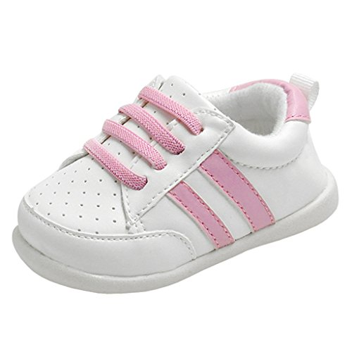 Annnowl Baby Girls Shoes Rubber Sole Boys Sneakers (Pink, 3 M US Infant)