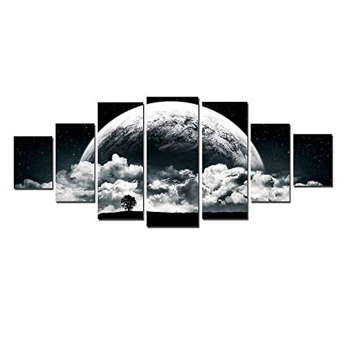 Startonight Glow in the Dark, Huge Canvas Wall Art Romantic Black And White Moon, Home Decor, Dual View Surprise Artwork Modern Framed Wall Art Set of 7 Panels Total 39.37 x 94.49 inch