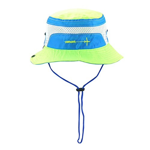 Toddler Sun Hat, Adjustable & Breathable Baby Bucket Hats with Chin Strap 50+ UPF UV Protection Cap for Boys Girls Kids - Fluorescent Green, 2-4 Years